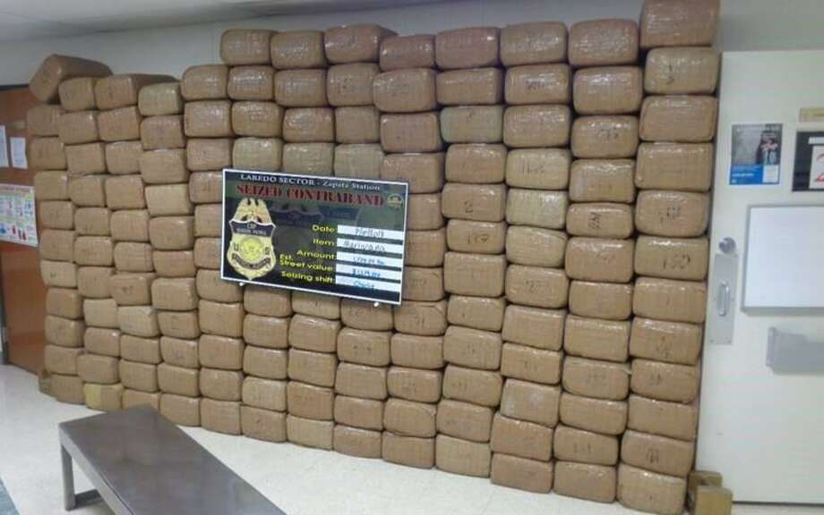 Border Patrol displays more than 1,700 pounds of marijuana that was recently seized near the Rio Grande in Zapata. Photo: Border Patrol /Courtesy Photo