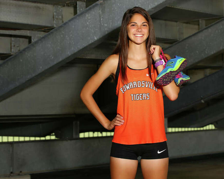 Edwardsville's Abby Korak is the 2017 Telegraph Girls Cross Country Runner of the Year after leading the Tigers to Southwestern Conference and Class 3A regional championships while placing first in both races as a sophomore. Photo:       Billy Hurst / For The Telegraph
