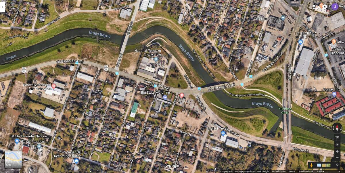 FILE - A screenshot of a Google Maps image of the 5800 block of Old Spanish Trail in Houston, Texas. Wednesday, HPD dispatched a dive team to the area following reports of a body in Brays Bayou.