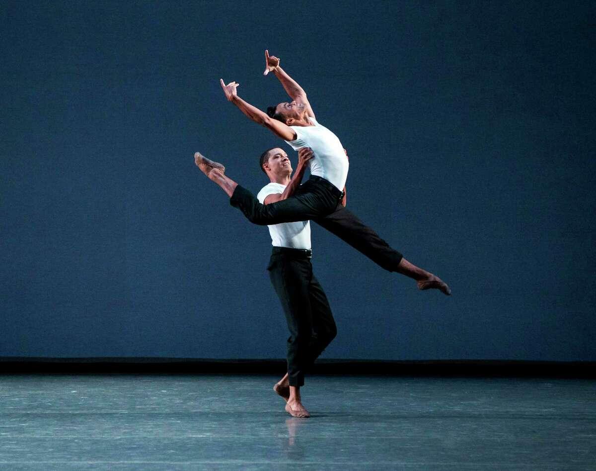 Preston Chamblee and Taylor Stanley (aloft). Not Our Fate (World Premiere) Choreography by Lauren Lovette. Fall Gala 2017. New York City Ballet. Credit Photo: Paul Kolnik, studio@paulkolnik.com