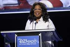 Oprah Winfrey, chief executive officer of Oprah Winfrey Network, speaks during the Disney Legends Awards at the D23 Expo 2017 in Anaheim, Calif.