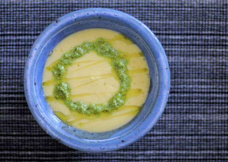Silky Sweet Corn Soup with Indian Coconut-Cilantro Chutney. Photo: Paul Stephen / San Antonio Express-News