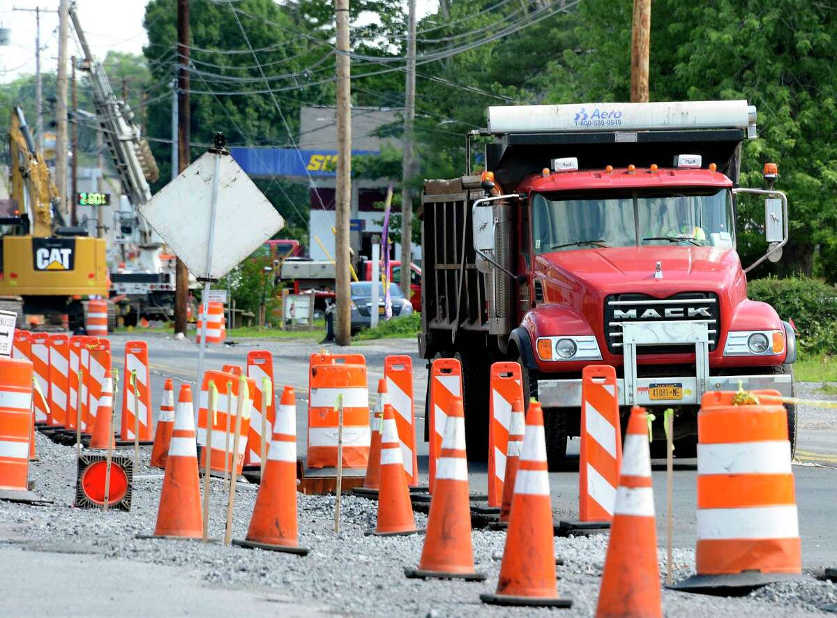 Road construction continues along Hamburg Street Tuesday July 10, 2018 in Rotterdam, NY. (John Carl D'Annibale/Times Union)