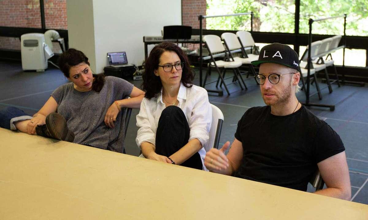 Director Rachel Chavkin, book writer and lyricist Carson Kreitzer, and composer Matt Gould discuss the world premiere musical, Lempicka. Photo by Sarah Sutton.