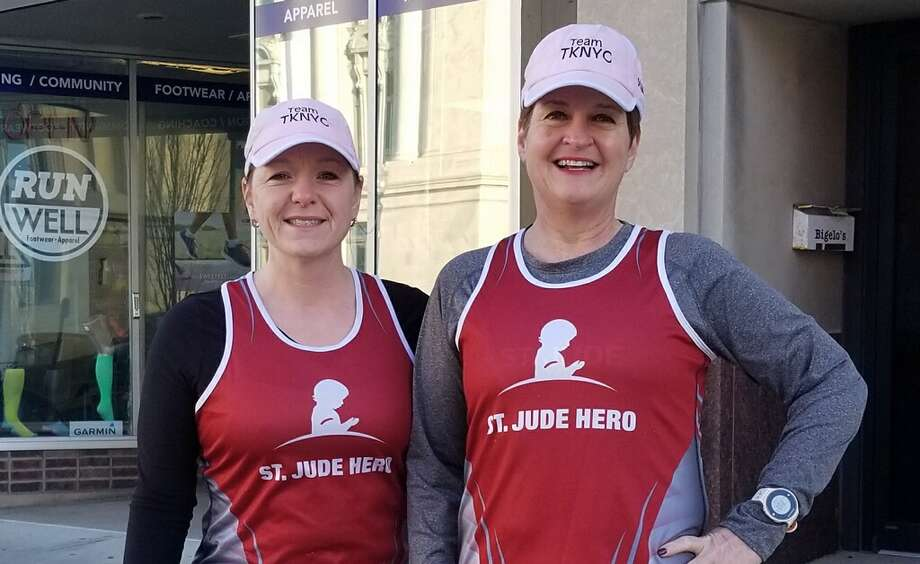 Local friends and avid runners Tammy Hollenbeck, left, and Kris Straub are training to run in the Nov. 4 New York City Marathon. The pair is committed to raising $10,000 for St. Jude Children's Hospital through their efforts. Photo: For The Intelligencer