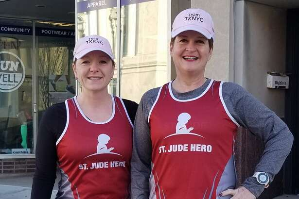 Local friends and avid runners Tammy Hollenbeck, left, and Kris Straub are training to run in the Nov. 4 New York City Marathon. The pair is committed to raising $10,000 for St. Jude Children's Hospital through their efforts.