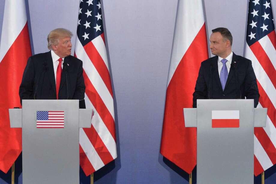 President Donald Trump and Polish President Andrzej Duda hold a joint news conference on July 6, 2017 in Warsaw, Poland. Photo: Lukasz Dejnarowicz/FORUM, FILE / TNS / Zuma Press