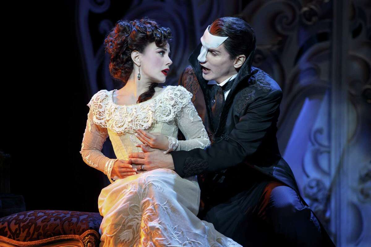 """From left: Meghan Picerno as Christine Daaé and Gardar Thor Cortes as the Phantom in """"Love Never Dies"""" at the Hobby Center for the Performing Arts."""
