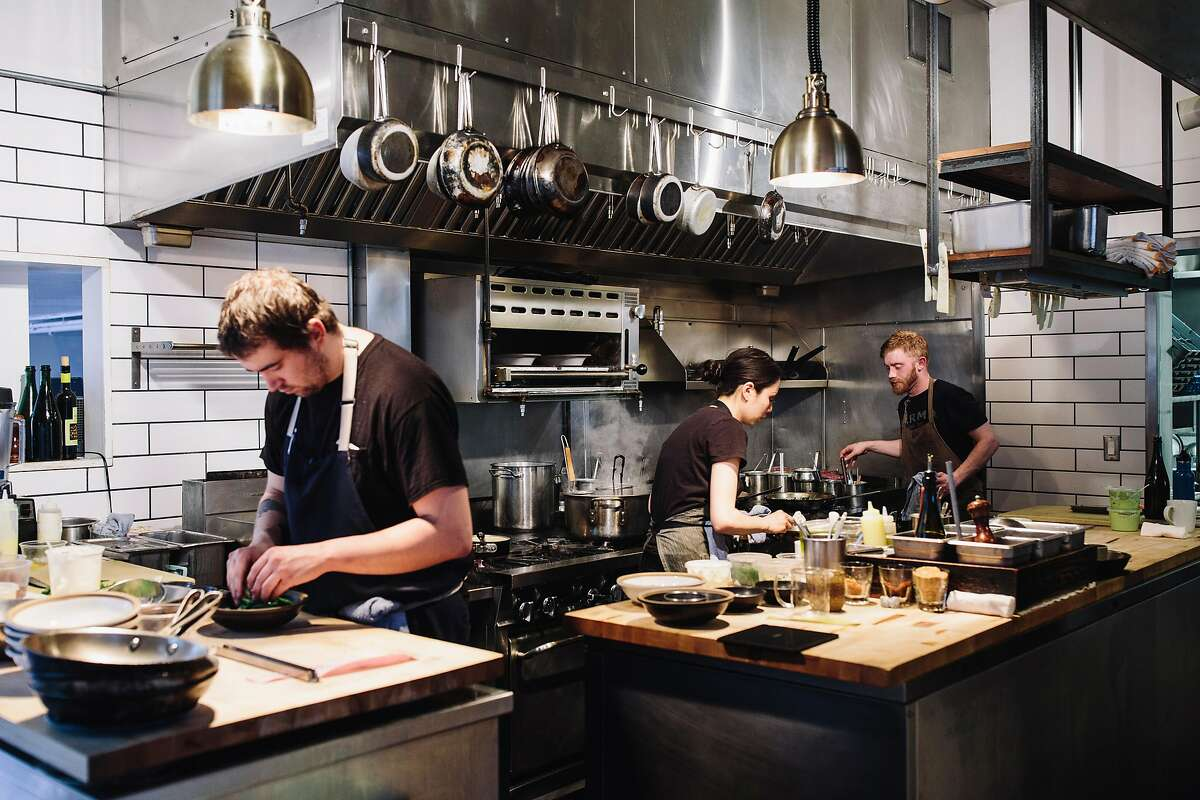 Interior view of the kitchen inside Octavia during dinner service in San Francisco, Calif. on Friday, March 16, 2018.