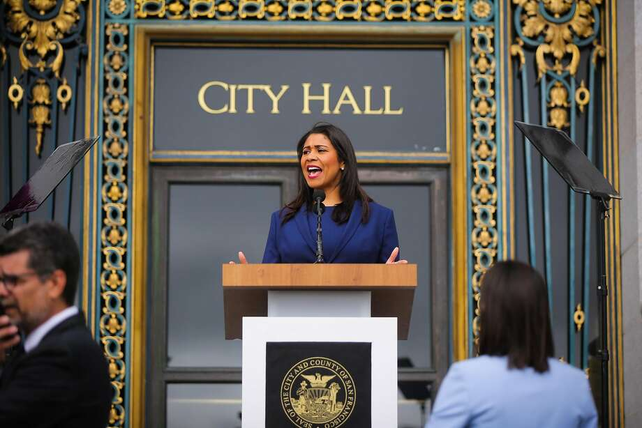 Mayor-elect London Breed practices her speech outside City Hall ahead of the Mayoral inauguration in San Francisco, California, on Wednesday, July 11, 2018. Photo: Gabrielle Lurie / The Chronicle