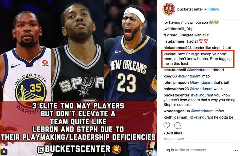 Kevin Durant's official Instagram account left this comment Tuesday. Photo: Screenshot Via Instagram