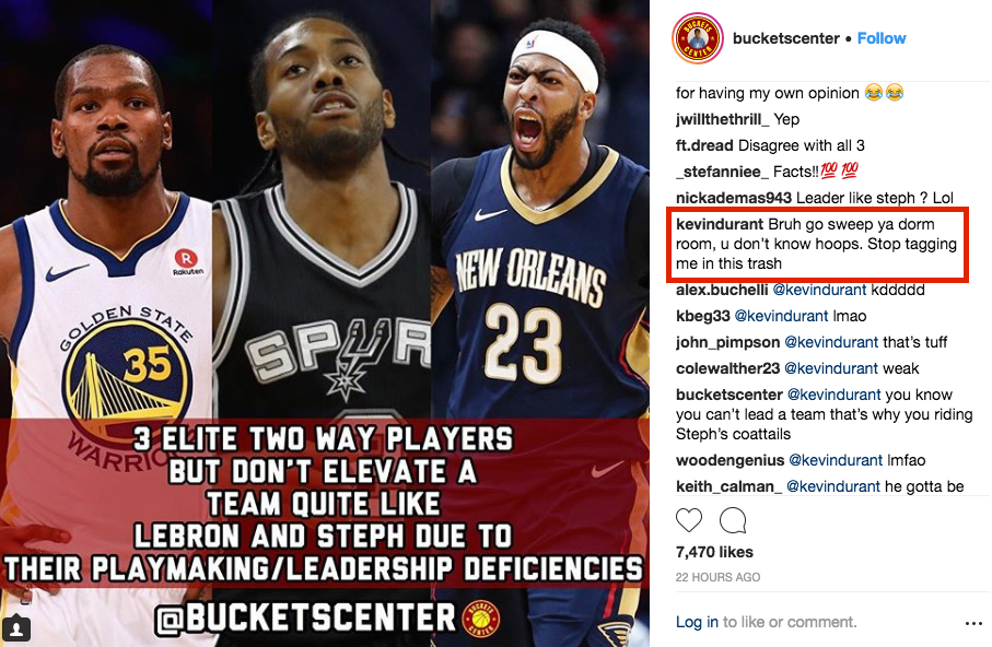 Kevin Durant tells basketball Instagram account to 'stop tagging me in this trash'