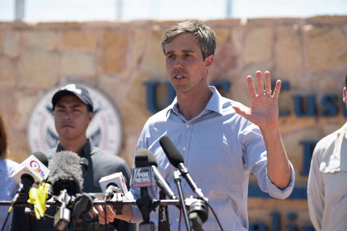 Texas Congressman Beto O'Rourke addresses the press after he and other politicians visited the tent city June 23, 2018 in Tornillo, Texas, housing immigrant children separated from their parents because of the Trump administration's zero tolerance policy. He described the conditions of the camp to be good, but that it didn't excuse the actions of the Trump adminstration. / AFP PHOTO / Paul RatjePAUL RATJE/AFP/Getty Images