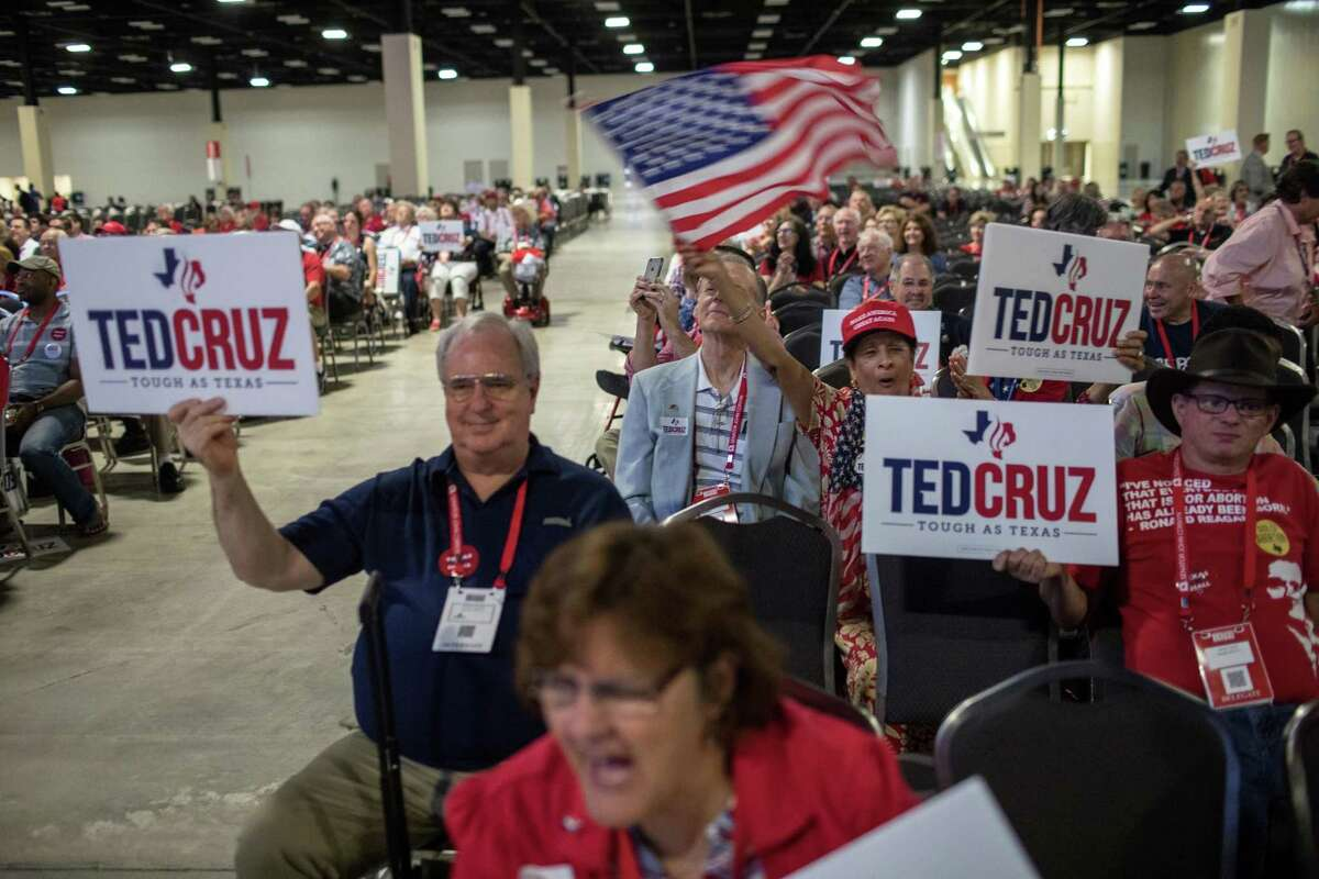 Supporters cheer Sen. Ted Cruz (R-Texas) during his speech at the Texas Republican Convention in San Antonio on June 16, 2018. Most polls show Cruz with a clear lead to win re-election in November. (Tamir Kalifa/The New York Times)