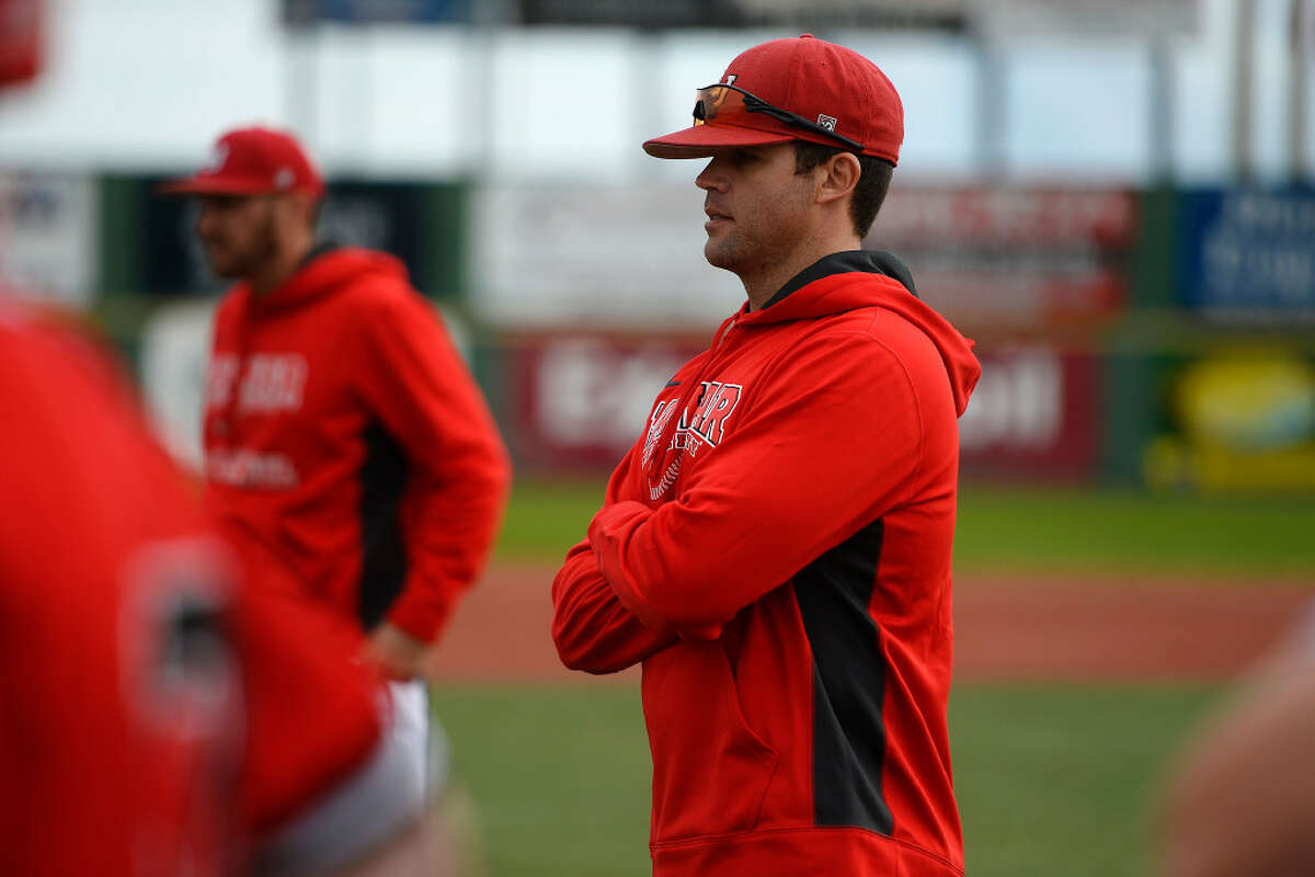 Lamar baseball coach Will Davis watches during the team's first practice on Friday. The Cardinals will open the season Feb. 17 as Davis takes the helm of the program. Photo taken Friday 1/27/17 Ryan Pelham/The Enterprise