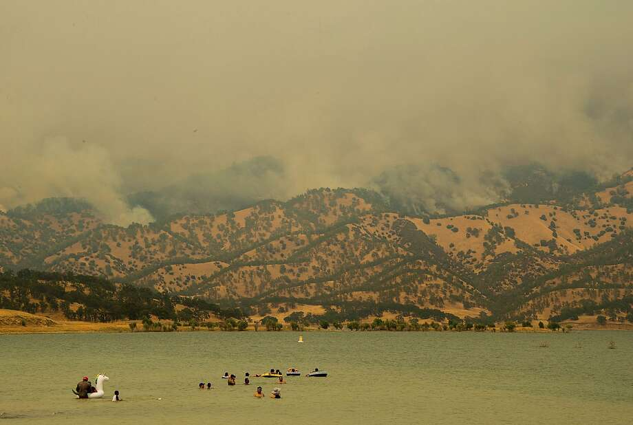 A wildfire near Lake Berryessa has contributed to poor air quality in Napa, Sonoma, San Mateo and San Francisco counties, according to the National Weather Service. Photo: Paul Kitagaki Jr. / Associated Press