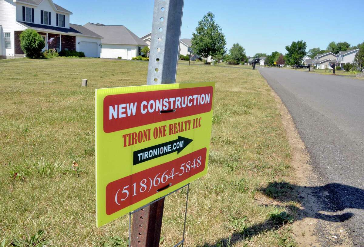New construction sign in housing development along Timothy Way Wednesday July 11, 2018 in Halfmoon, NY. (John Carl D'Annibale/Times Union)