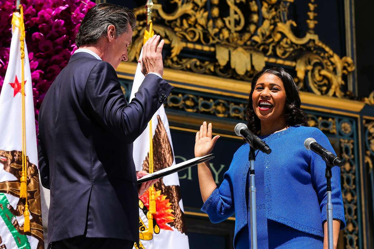 Mayor London Breed takes the oath of office during the inauguration outside City Hall in San Francisco, California, on Wednesday, July 11, 2018.