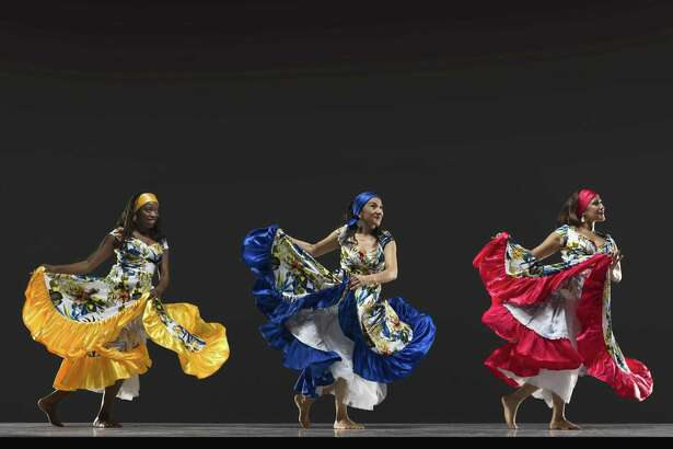 Tola Williams (left), Mitzi Ulloa and Diana Aburto of Arenas Dance Company, featured on the opening weekend of the 40th annual San Francisco Ethnic Dance Festival July 14-15 at the War Memorial Opera House in San Francisco.