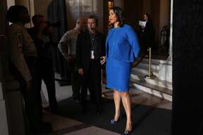London Breed waits inside city hall prior to her inauguration ceremony on Wednesday, July 11, 2018, in San Francisco, Calif.