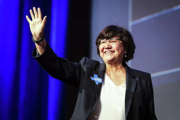 Texas gubernatorial candidate Lupe Valdez waves as she takes the stage during the general session at the Texas Democratic Convention Friday, June 22, 2018, in Fort Worth, Texas. (AP Photo/Richard W. Rodriguez)
