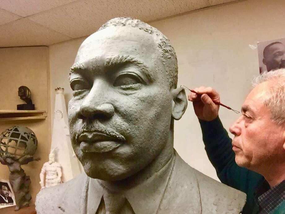 Artist/sculptor Vasil Rakaj of Ansonia works on a bust of the Rev. Martin Luther King Jr. Photo: Contributed Photo / Macedonia Baptist Church