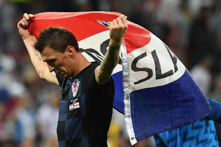TOPSHOT - Croatia's forward Mario Mandzukic celebrates at the end of the Russia 2018 World Cup semi-final football match between Croatia and England at the Luzhniki Stadium in Moscow on July 11, 2018. / AFP PHOTO / YURI CORTEZ / RESTRICTED TO EDITORIAL USE - NO MOBILE PUSH ALERTS/DOWNLOADS YURI CORTEZ/AFP/Getty Images Photo: YURI CORTEZ;Yuri Cortez / AFP / Getty Images