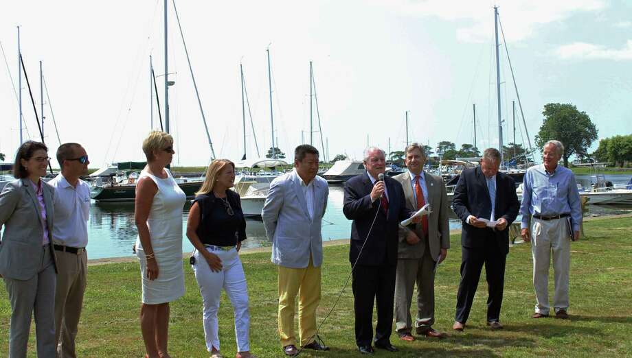 Local and state leaders were on hand Wednesday at a press conference announcing grants from the Connecticut Port Authority. Fairfield,CT. 7/11/18 Photo: Genevieve Reilly / Hearst Connecticut Media / Fairfield Citizen