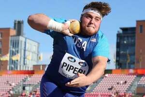 The Woodlands native Tripp Piperi, who is currently attending the University of Texas, competes in the shot put at the IAAF World U20 Championships in Tampere, Finland on Tuesday.