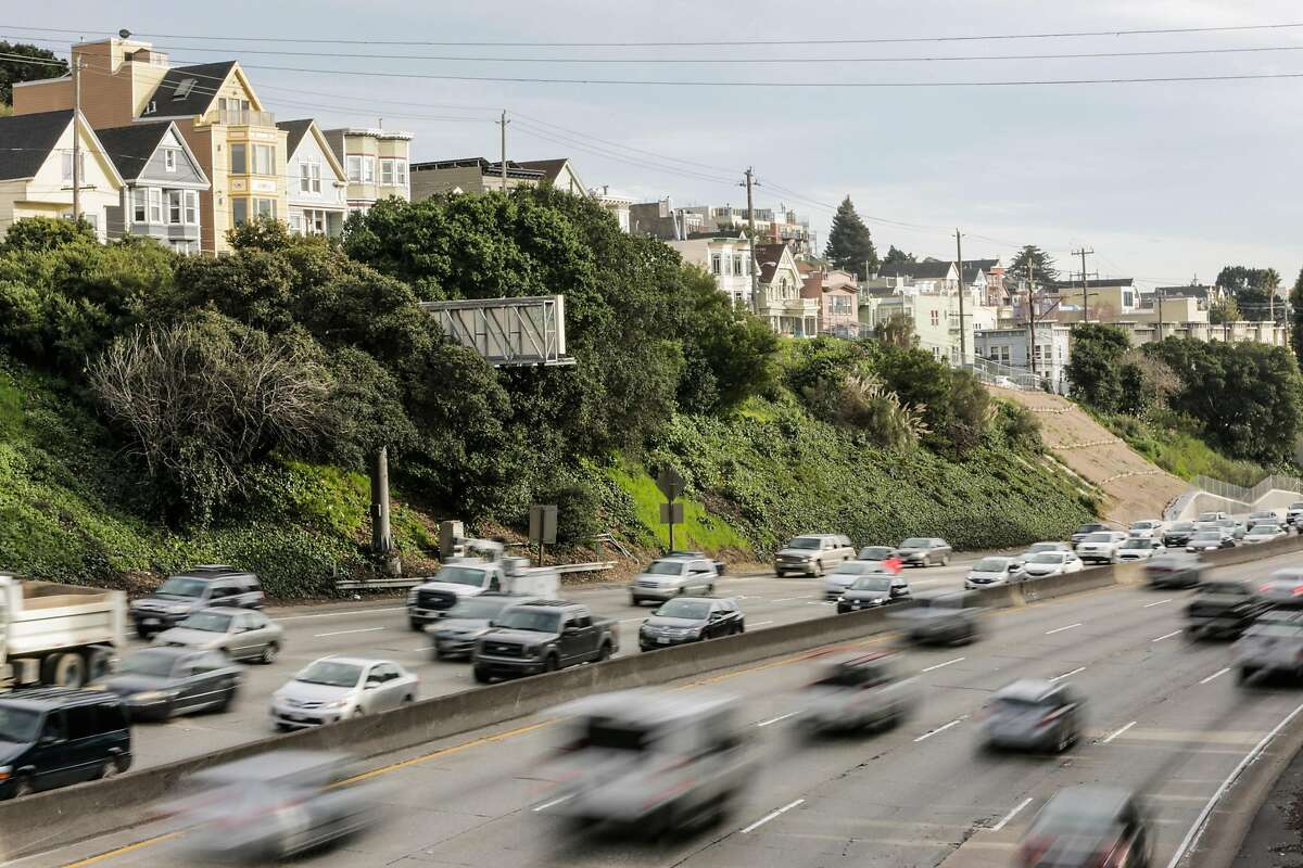 Traffic on Highway 101 in San Francisco, California, in 2017. The Trump administration recently announced it would end California's waiver to set higher fuel emissions standards than the federal government under the Clean Air Act.