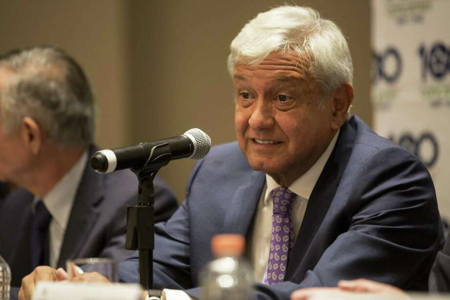 Mexico's President-elect Andres Manuel Lopez Obrador gives a press conference after meeting with Concamin, a chamber of industrial businesses, in Mexico City, Monday, July 9, 2018. Lopez Obrador campaigned on a promise to return to Mexicos traditional foreign policy of nonintervention. Photo: Moises Castillo, STF / Associated Press / Copyright 2018 The Associated Press. All rights reserved