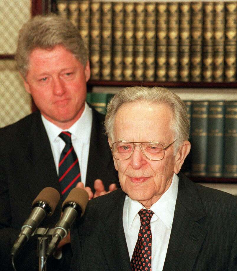 Supreme Court Justice Harry Blackmun, shown with President Bill Clinton in 1994, surprised many who expected him to remain staunchly conservative throughout his career. Photo: MARCY NIGHSWANDER / Associated Press / AP