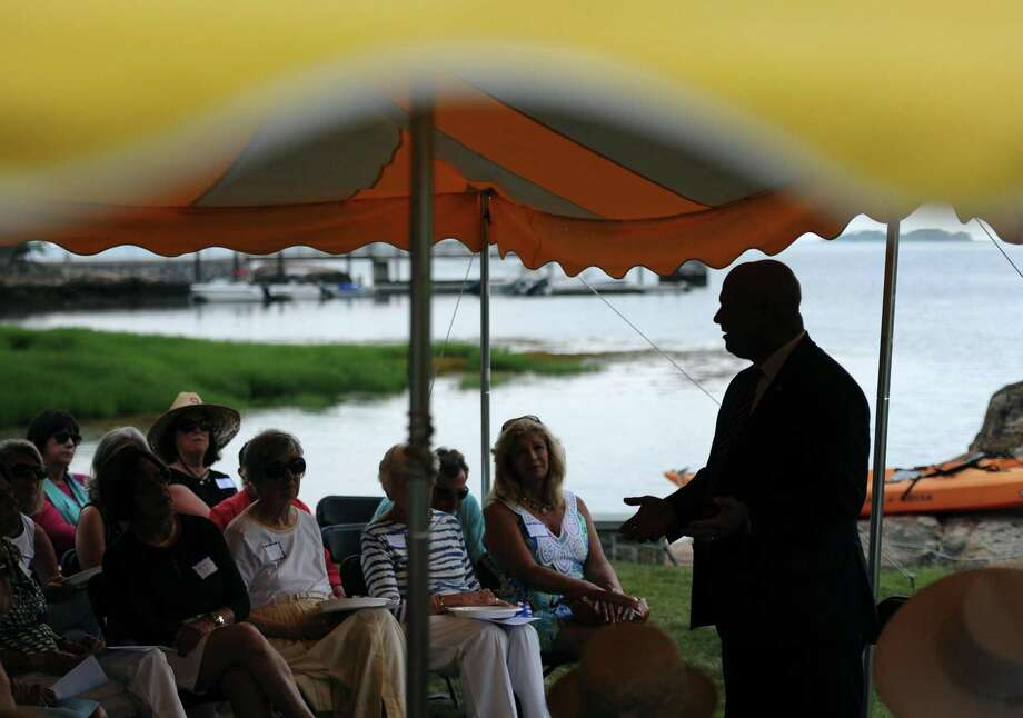 State Rep. Mike Bocchino speaks at the annual League of Women Voters legislative picnic at a private residence in the Riverside section of Greenwich, Conn. Wednesday, July 11, 2018. State Sen. Scott Frantz and State Reps. Livvy Floren, Fred Camillo and Mike Bocchino spoke about issues facing the town and state. Photo: Tyler Sizemore / Hearst Connecticut Media / Greenwich Time
