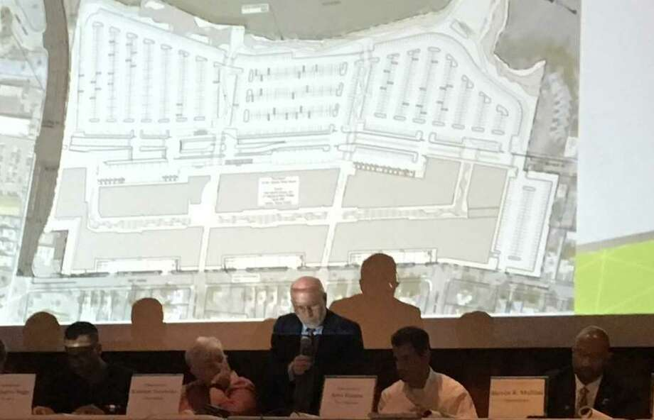 West Haven Planning and Zoning Commissioner members talk about The Haven project on Tueday, July 10, 2018, with a map from the project's site plan projected on a screen behind them. Photo: Mark Zaretsky / Hearst Connecticut Media