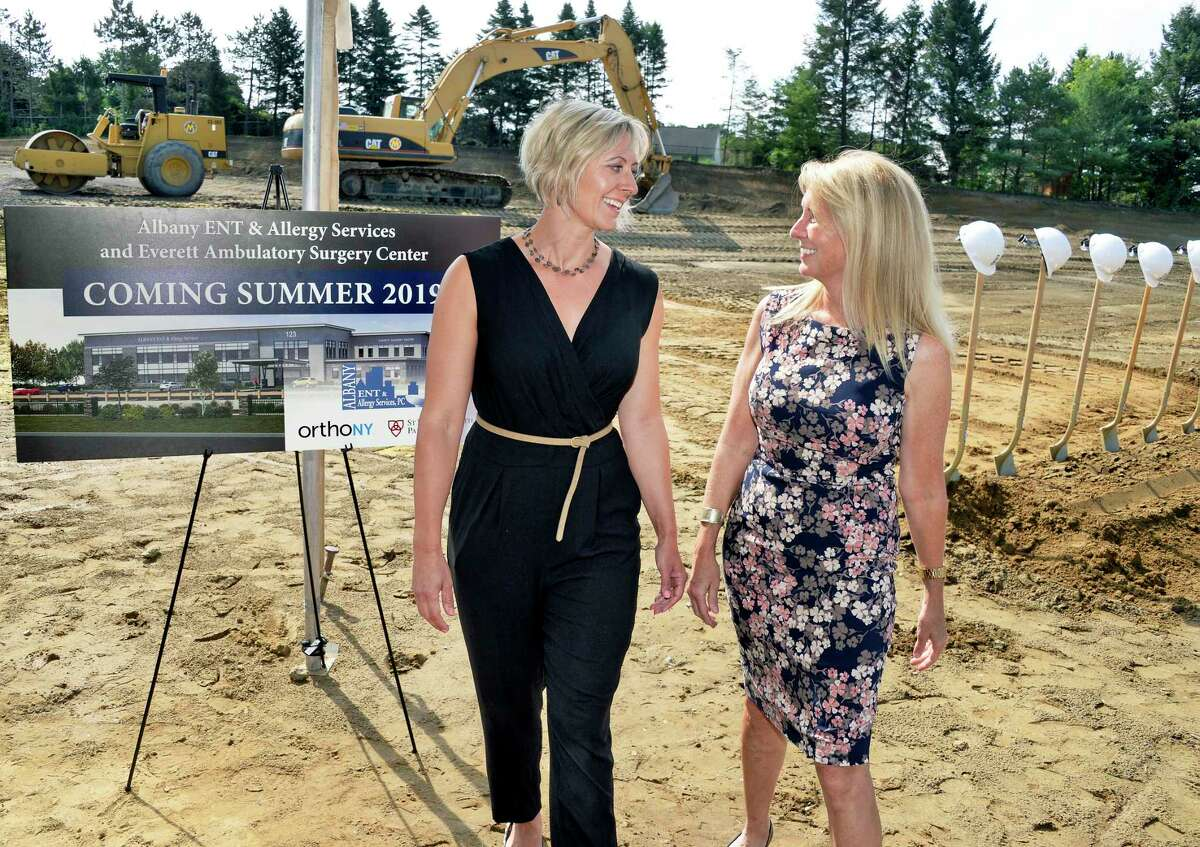 Dr. Nora Perkins, left, and Dr. Siobhan Kuhar during ground breaking ceremonies for the new Albany ENT & Allergy Services offices and Everett Ambulatory Surgery Center Ð a 54,000 square-foot, state-of-the-art, point-of-care medical office building and multi-specialty ambulatory surgery center Wednesday July 11, 2018 in Colonie, NY. (John Carl D'Annibale/Times Union)