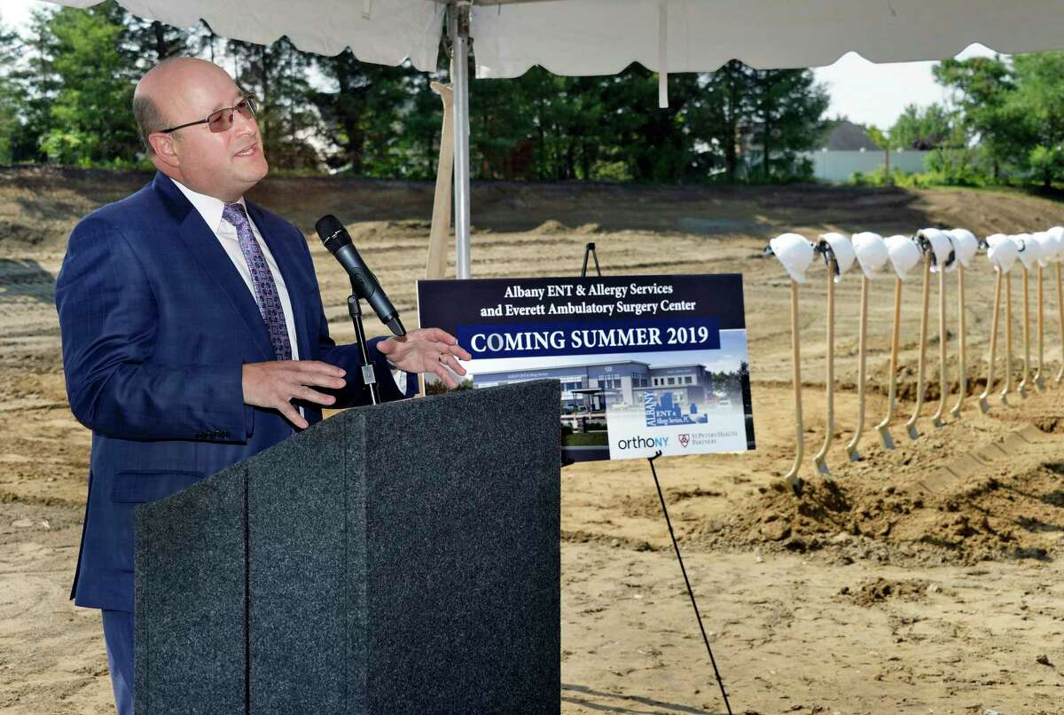 Dr. Gavin Setzen, president of Albany ENT & Allergy Services speaks during ground breaking ceremonies for the new Albany ENT & Allergy Services offices and Everett Ambulatory Surgery Center ?- a 54,000 square-foot, state-of-the-art, point-of-care medical office building and multi-specialty ambulatory surgery center Wednesday July 11, 2018 in Colonie, NY. (John Carl D'Annibale/Times Union)