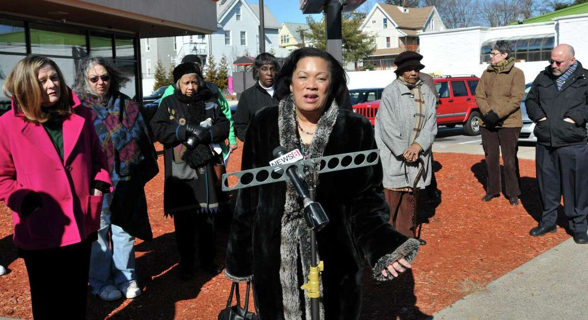 New Haven-- State rep Toni Harp speaks during a press conference announcing a violence reduction initiative at the corner of Norton Street and Derby Avenue. Peter Casolino/New Haven Register 02/13/12