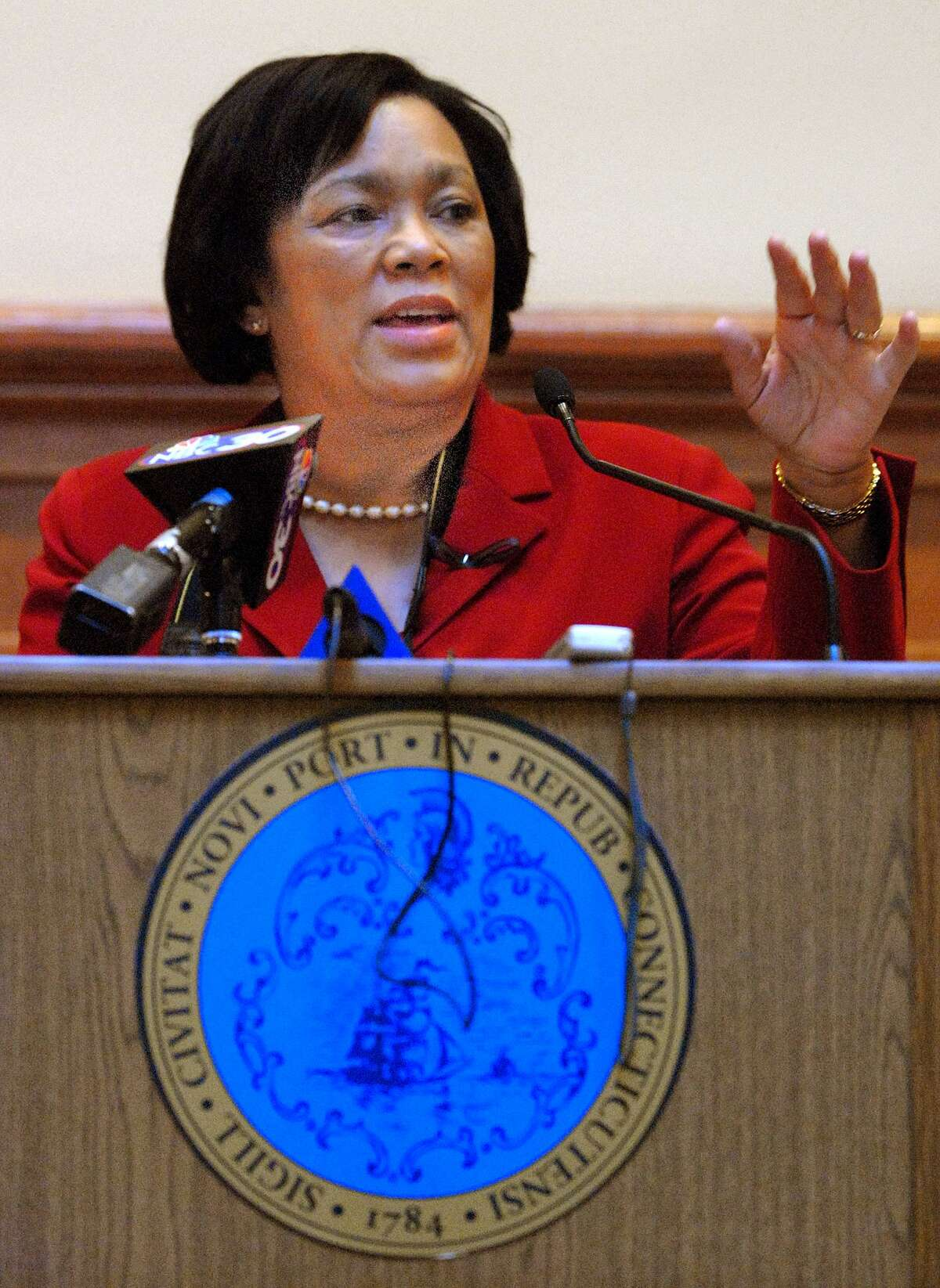 Brad Horrigan   New Haven Register. BH0013. Connecticut State Senator from the 10th Senate District Toni Harp's speaks at city hall Friday about combatting homelessness.