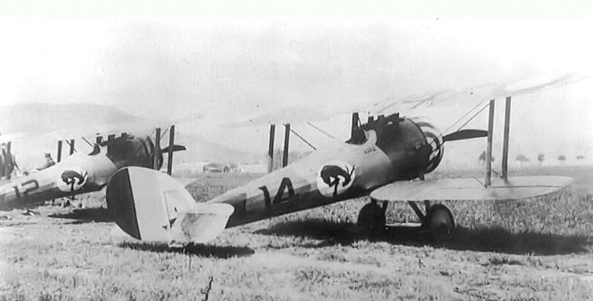 Nieuport 28 planes of the 95th Aero Squadron of the U.S. Army Air Service. The squadron emblem was a kicking mule. Lt. Quentin Roosevelt was killed flying a plane like one of these. (National Archives)