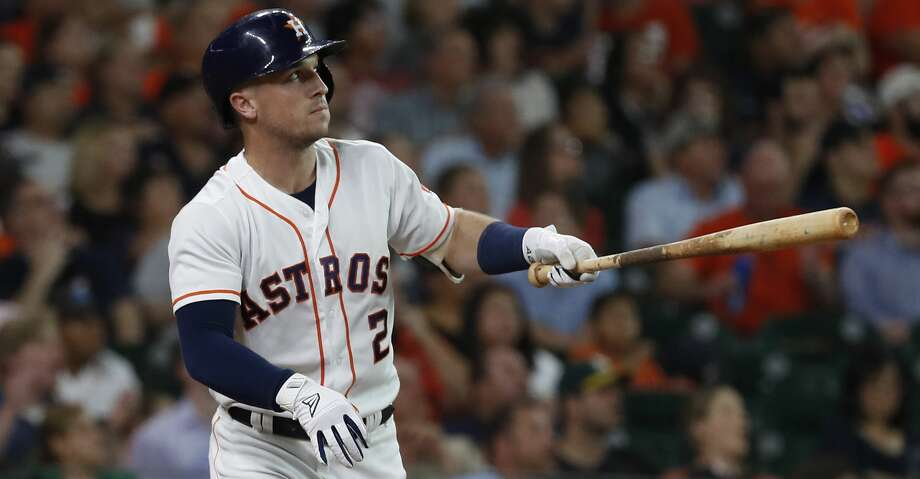 Houston Astros Alex Bregman (2) hits a home run during the first inning of an MLB game at Minute Maid Park, Tuesday, July 10, 2018, in Houston. ( Karen Warren  / Houston Chronicle ) Photo: Karen Warren/Houston Chronicle