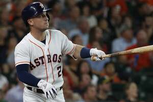 Houston Astros Alex Bregman (2) hits a home run during the first inning of an MLB game at Minute Maid Park, Tuesday, July 10, 2018, in Houston. ( Karen Warren  / Houston Chronicle )