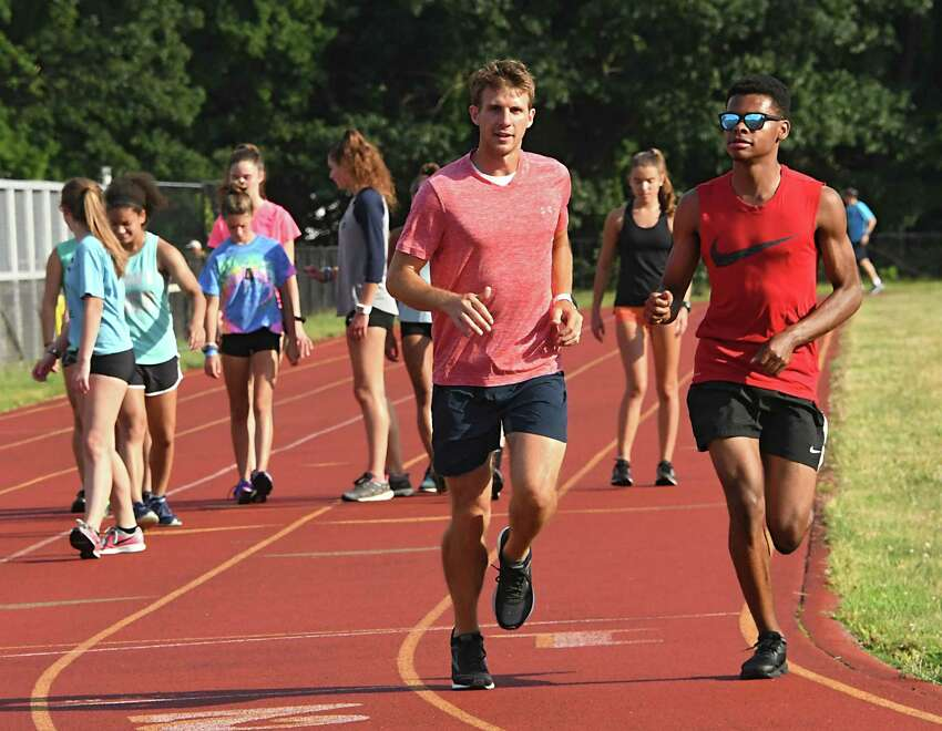 Runners are seen on the track during the weekly summer track meet at Colonie High School on Tuesday, July 10, 2018 in Colonie, N.Y. (Lori Van Buren/Times Union)