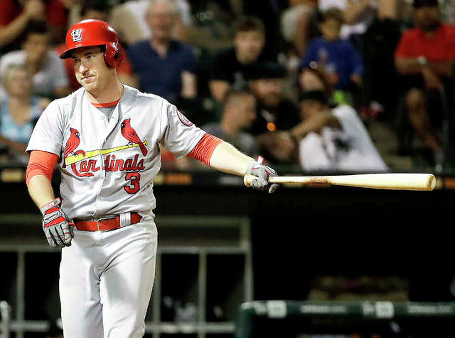 The Cardinals' Jedd Gyorko reacts after striking out swinging in the ninth inning against the White Sox Wednesday night in Chicago. Photo:       AP