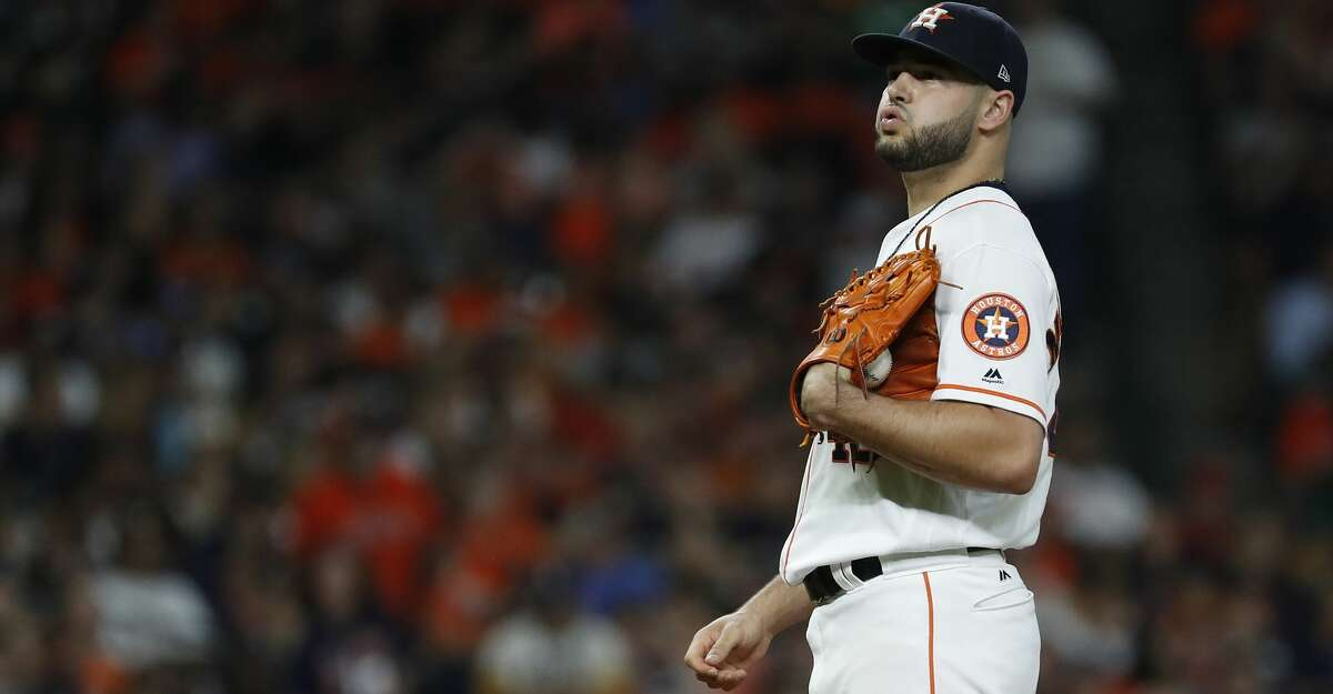 Houston Astros starting pitcher Lance McCullers Jr. (43) reacts after giving up a three-run home run to Oakland Athletics Chad Pinder during the fourth inning of an MLB game at Minute Maid Park, Wednesday, July 11, 2018, in Houston. ( Karen Warren / Houston Chronicle )