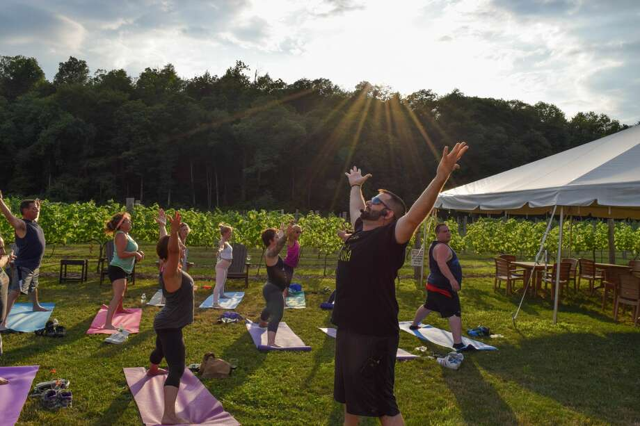 Yoga Night at Arrigoni Winery in Portland onJuly 11, 2018featured yoga for all levels on the lawnfollowed by a wine tasting on your mat, a light dinner and NORA's Cupcake Truck from Middletown. Were you SEEN? Photo: Michelle V. France
