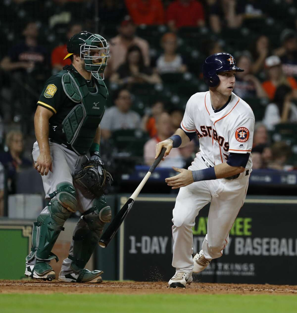 Houston Astros Kyle Tucker (3) runs up the line after hitting a single during the ninth inning of an MLB game at Minute Maid Park, Wednesday, July 11, 2018, in Houston. ( Karen Warren / Houston Chronicle )