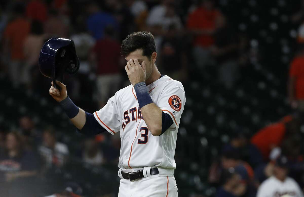 Houston Astros Kyle Tucker (3) wipes his face after the Astros 8-3 loss to the Oakland Athletics the ninth inning of an MLB game at Minute Maid Park, Wednesday, July 11, 2018, in Houston. ( Karen Warren / Houston Chronicle )