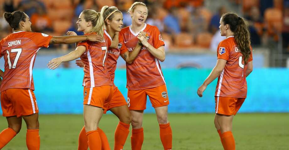Houston Dash defender Rachel Daly (3) celebrates with teammates after scoring against the Orlando Pride during the first half of an NWSL game at BBVA Compass Stadium Wednesday, July 11, 2018, in Houston. ( Godofredo A. Vasquez / Houston Chronicle ) Photo: Godofredo A. Vasquez/Houston Chronicle