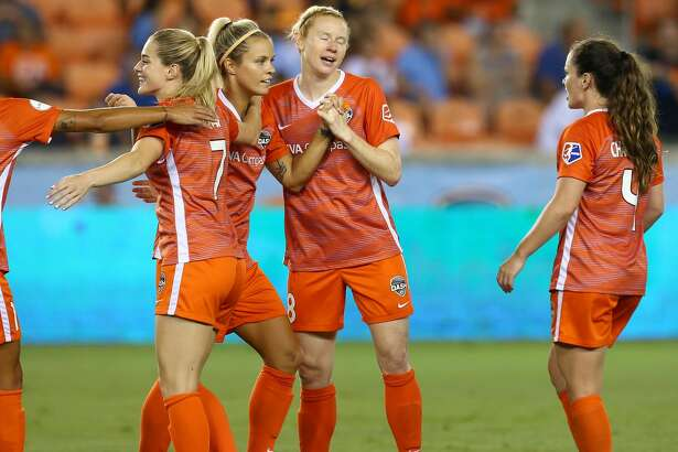 Houston Dash defender Rachel Daly (3) celebrates with teammates after scoring against the Orlando Pride during the first half of an NWSL game at BBVA Compass Stadium Wednesday, July 11, 2018, in Houston. ( Godofredo A. Vasquez / Houston Chronicle )