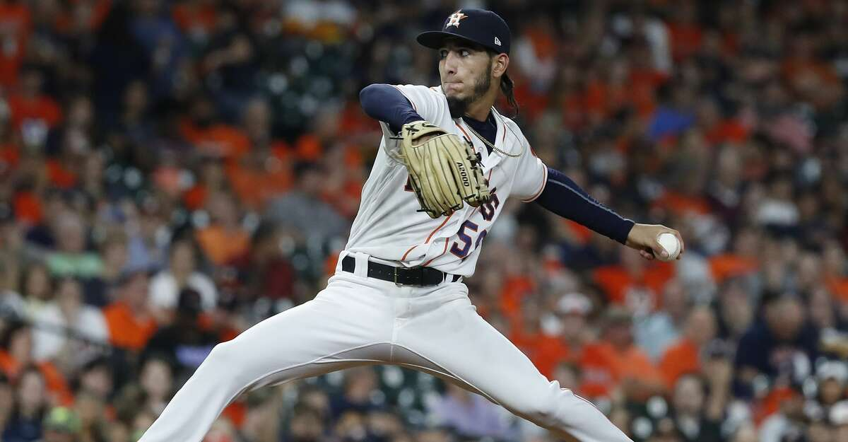 Astros rookie Cionel Perez pitches during the eighth inning Wednesday's game against the A's at Minute Maid Park.